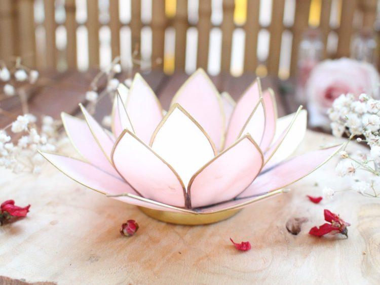 Photophore Fleur de Lotus rose