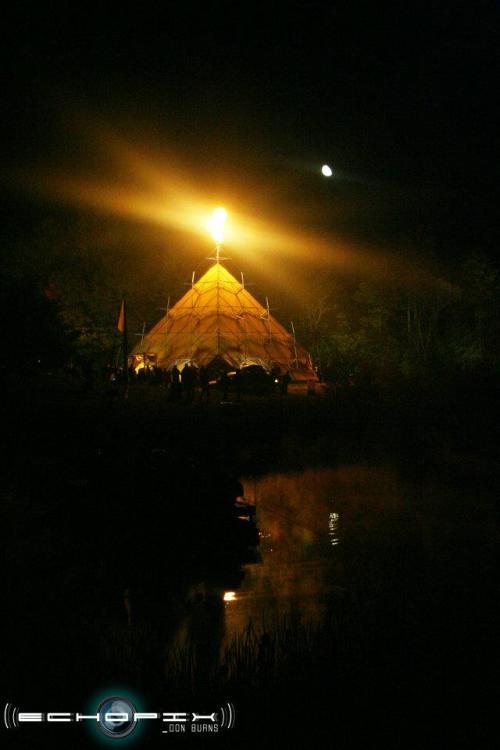 Pyramid and flames