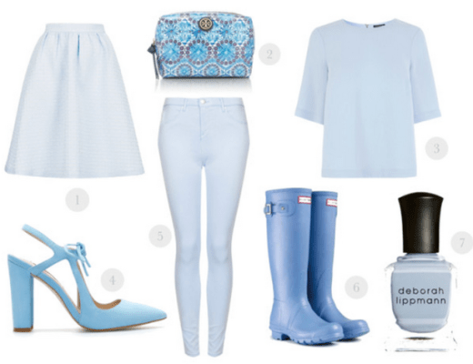 baby blue fashion, baby blue hunter boots, baby blue nailpolish, baby blue pumps, baby blue skirt, baby blue tory burch