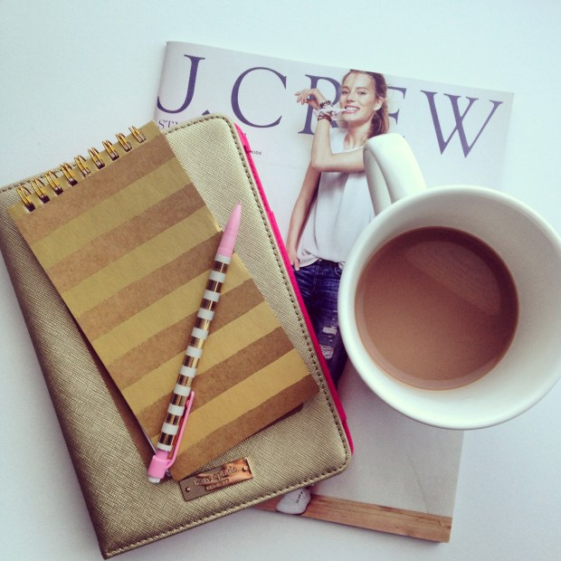 jcrew catalogue, target note pad, kate spade ipad case, chapters mug