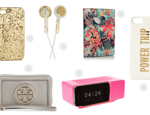 tech accessories, tory burch tech, kate spade tech, frends earphones, cell phone case