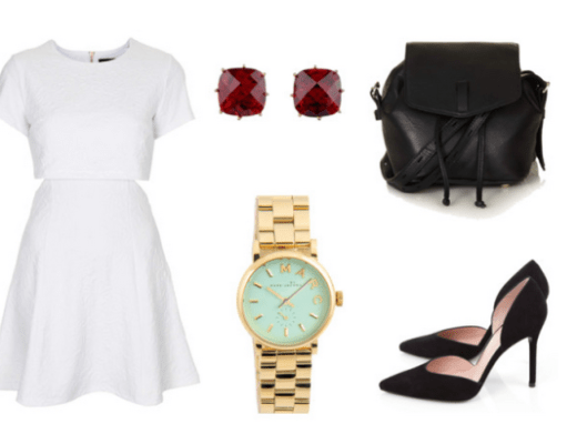 white dress, ruby earings, marc jacobs watch, black leather backpack, black pumps, canadian blogger, ontario blogger, fashion blogger
