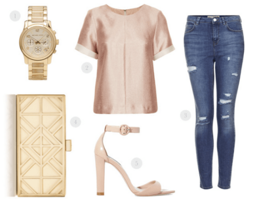 blush top, ripped jeans, tory burch clutch, michael kors gold watch, nude pumps, nude pumps ankle straps