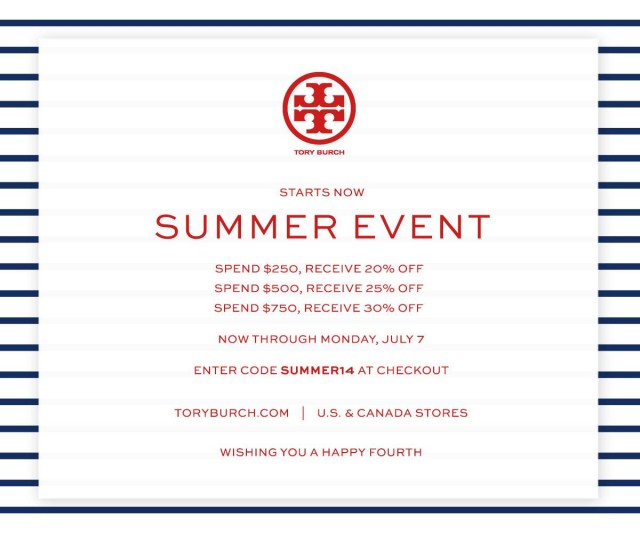 Tory Burch Coupon Codes, Promos & Sales Tory Burch coupon codes and sales, just follow this link to the website to browse their current offerings. And while you're there, sign up for emails to get alerts about discounts and more, right in your inbox.