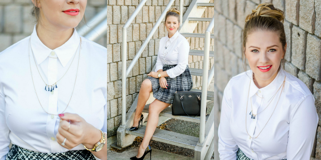 Classic Holiday Office Party Look with Windsor Crossing Premium Outlets