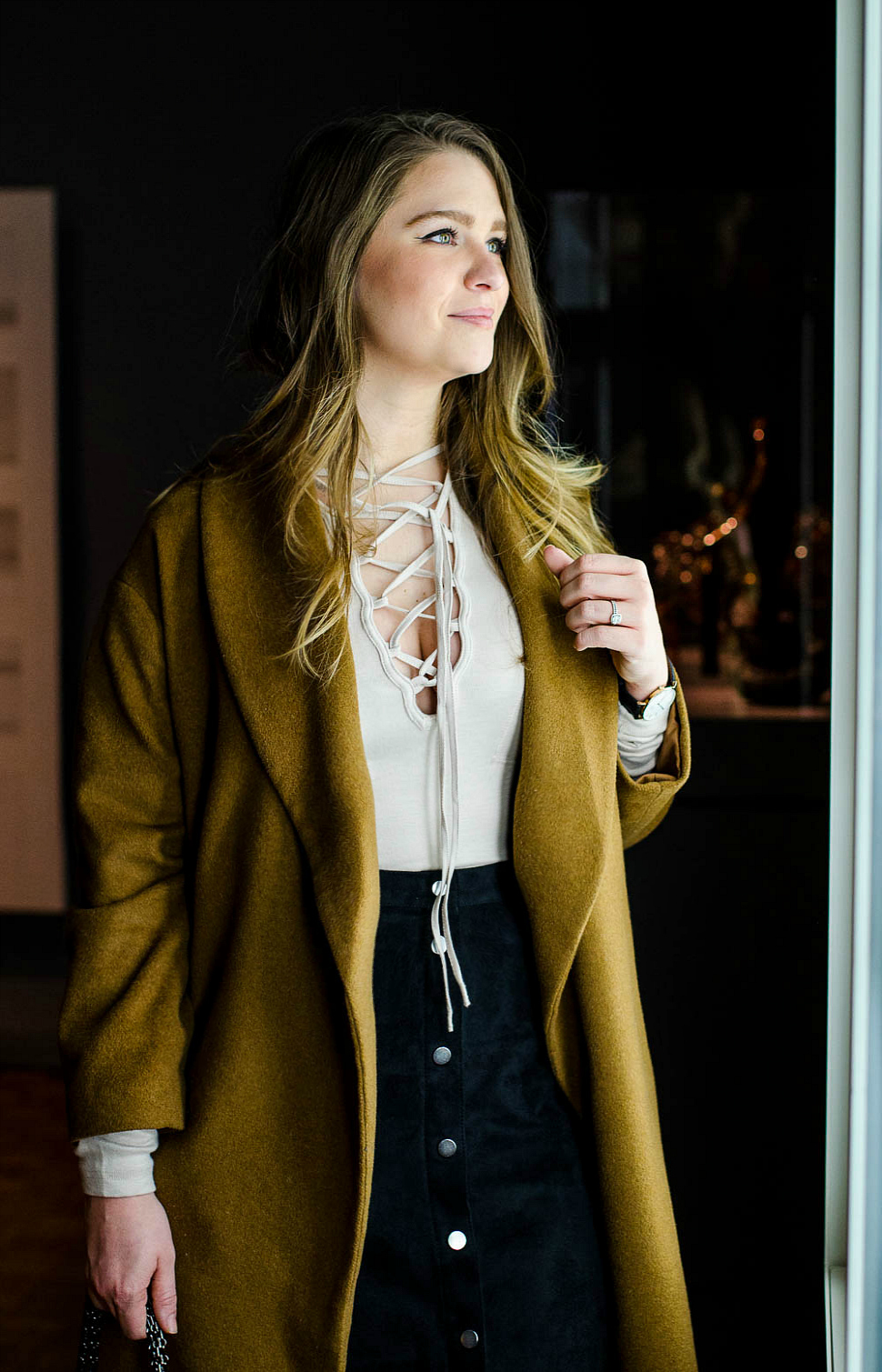 DIA-Detroit-free-people-lace-up-top-button-front-skirt-rosecitystyleguide-camel-wrap-coat-7