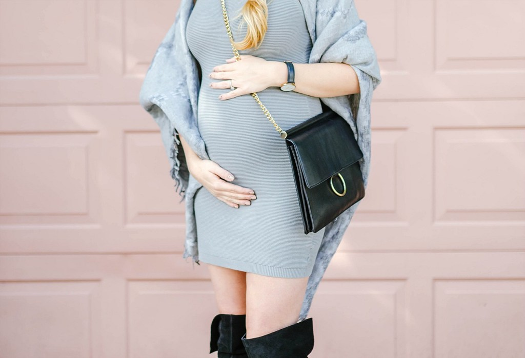 maternity-style-grey-outfit-artizia-fashion-blogger-canadian-lifestyle-rose-city-style-guide-felt-hat-blanket-scarf