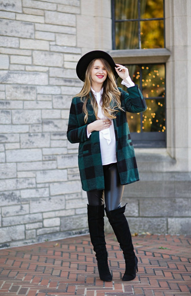 plaid-green-coat-old-navy-black-felt-hat-leather-leggings-holiday-style-maternity-pregnancy-outfit-christmas-rosecitystyleguide-ltkbump-1