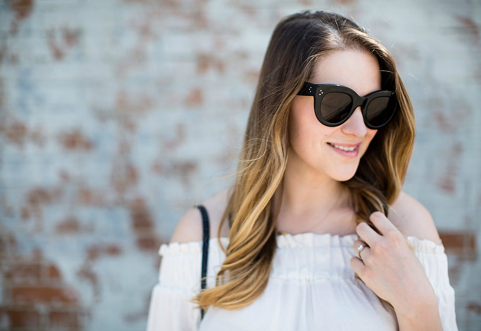 new-mom-capsule-wardrobe-outfit-summer-off-the-shoulder-celine-caty-sunglasses-rosecitystyleguide