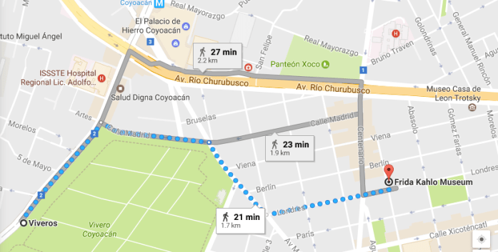 Map to Tour the Frida Kahlo Museum