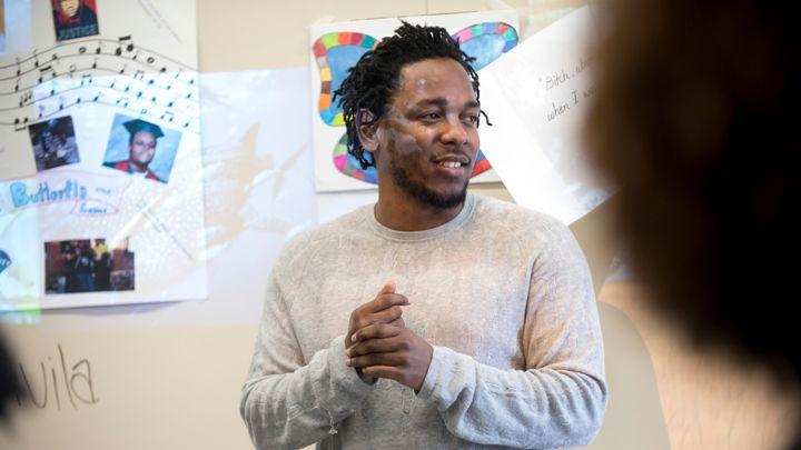 Kendrick Lamar Visits New Jersey Highschool