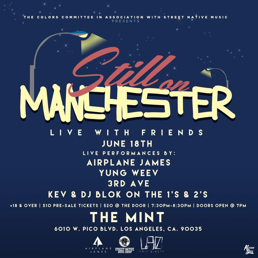 Still On Manchester TONIGHT: 3rd ave x Airplane James x Yung Weev