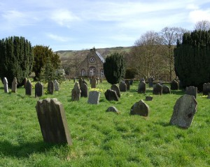 A view across the churchyard to the Primitive Methodist chapel