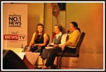 From right: Dr Alma G Facto, Sr Rose Agtarap, FSP and Kara David