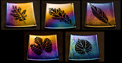 "AUTUMN SHADOWS 6"" plates with sandblasted design."