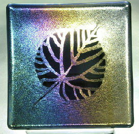 "ASPEN SHADOWS Transparent midnight blue rainbow iridized glass has been sandblasted leaving behind this aspen leaf. 6"" x 6"" sushi style dish or plate."