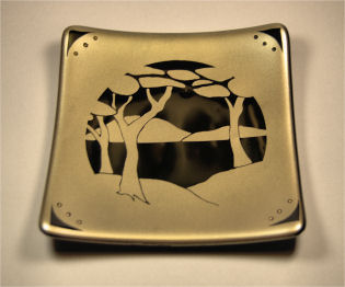 "TRANQUILITY 6"" sandblasted gold mica using a photo-resisted design with 23kt gold accents."