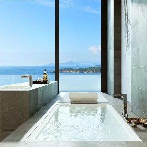 a luxurious bathroom with a floor to ceiling window overlooking a trocpial sea
