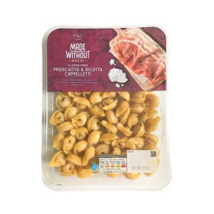 a box of M&S made without wheat prosciutto and ricotta cappelletti
