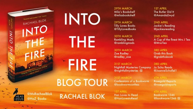 blog tour poster featuring the cover of into the fire along with the dates and blog names