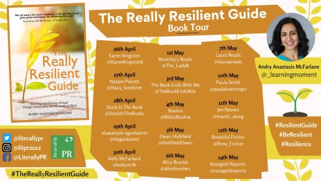 the blog tour poster showing the cover for the really resilient guide along with dates and blog names