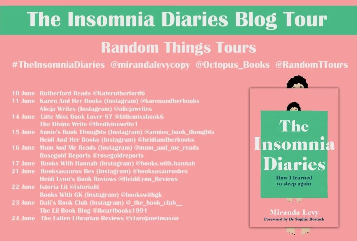 the blog tour poster for the insomnia diaries, featuring the book cover on the right and the list of blogs and dates on the left