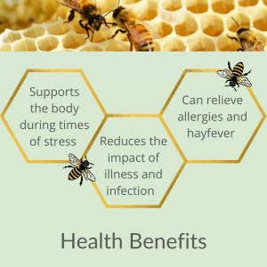 a sage green background with gold hexagons arrange lattice style like honeycomb with the health benefits listed in side. Across the top there is a shot of bees on honeycomb