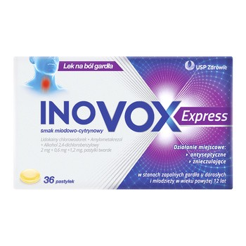 Inovox Express, harte Lutschtabletten, Honig-Zitronen-Geschmack, 36 Stk.