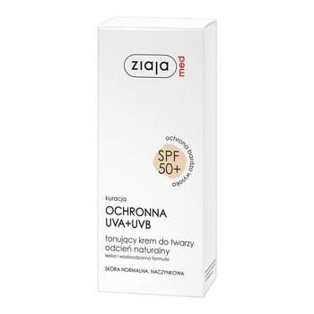 Ziaja Med, tonisierende Gesichtscreme, SPF 50, natürlicher Farbton, normale Couperose-Haut, 50 ml