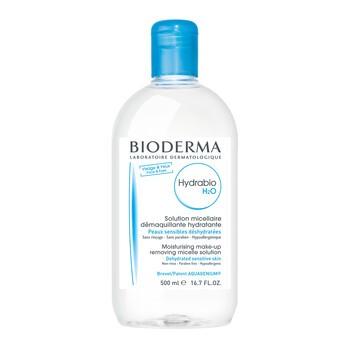 Bioderma Hydrabio H2O, feuchtigkeitsspendendes Mizellenwasser zur Gesichtsreinigung und Abschminkung, 500 ml