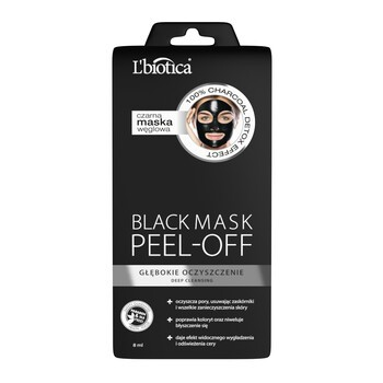 L Biotica Black Mask Peel-Off, schwarze Kohlemaske, Tiefenreinigung, 8 ml
