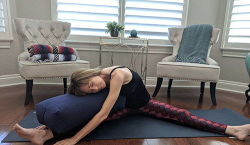 restorative yoga side bend
