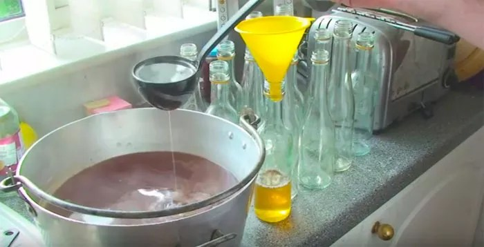 Decant rose hip syrup into bottles