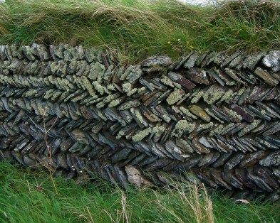 Layered wall, Tintagel, Cornwall.