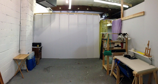 A slightly distorted view of my clean studio - before work started in it.