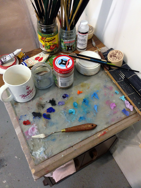 My trusty palette, brushes and knife - tools of the trade!