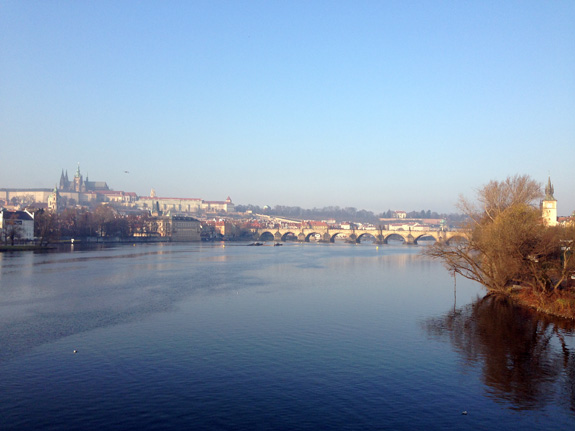 Beautiful views crossing the Vltava River everyday into the city centre