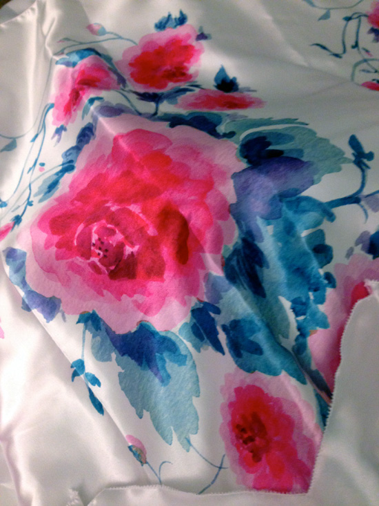 The watercolour roses printed onto satin