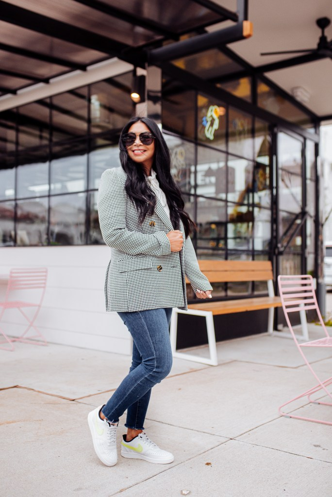 blazer and sneakers outfit