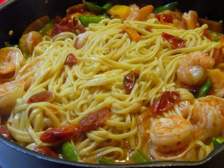 Colorful Spicy Lemon-Garlic Shrimp Linguine (7)