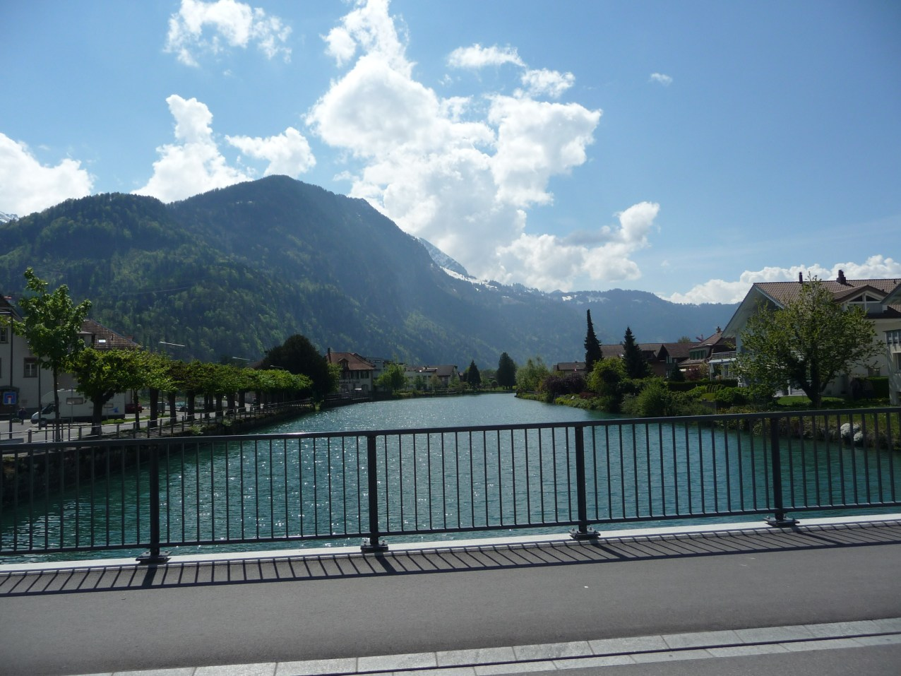 View crossing river on our carriage trip round Interlaken