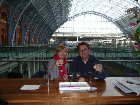 Technically not quite Paris but en route there via the Champagne Bar at St Pancras International and we're definitely getting into the French spirit with the drink selections!
