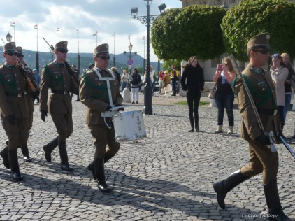 The new guards arriving for the Changing of the Guards Ceremony Buda Alexander Palace