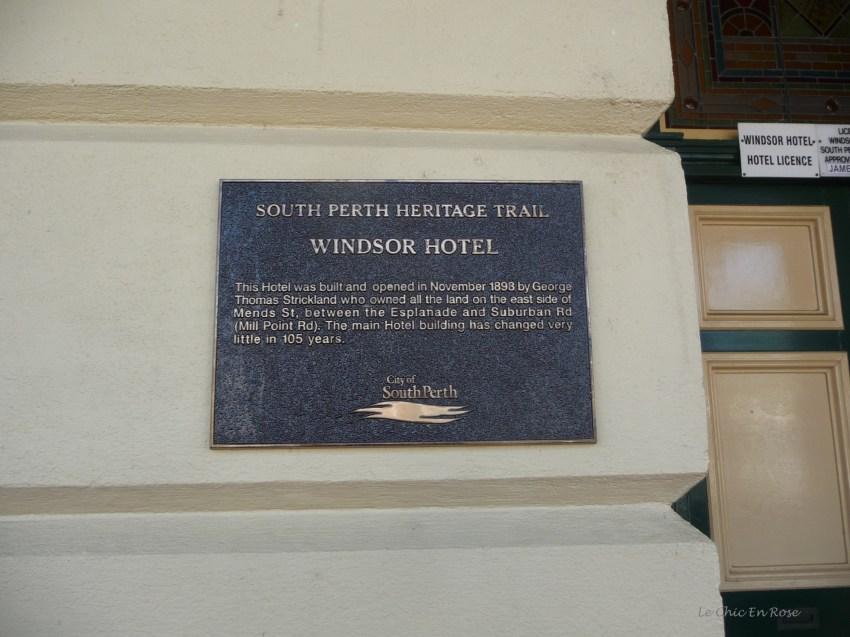 Plaque describing the hotel's history