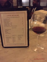 Drinks menu Cafe Boheme