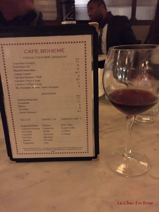 Drinks menu Cafe Boheme Soho