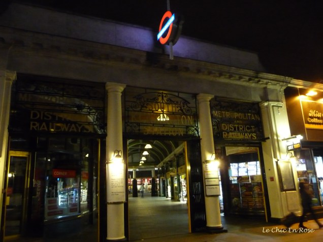 South Kensington tube station at night