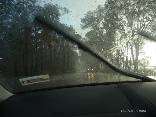 Driving through a winter storm near Margaret River Western Australia