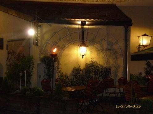 Beer garden at night Zum Duernbraeu Munich