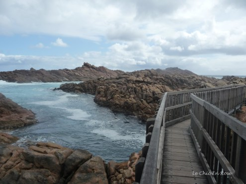 Walkway across the rocks and over the channels